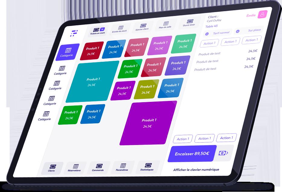 Ecran accueil caisse enregistreuse easyshop iPad